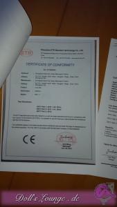 Das CE- Zertifikat  wird als Standard zu jeder Puppe mit ausgehändigt